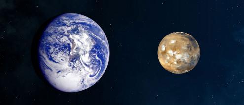 Comparação entre a Terra e Marte. Foto de NASA's Marshall Space Flight Center:Flickr.jpg