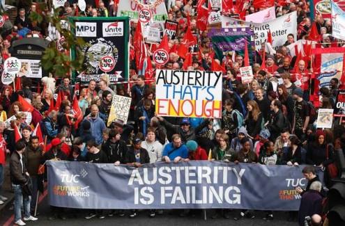 Manifestação em Londres contra a austeridade