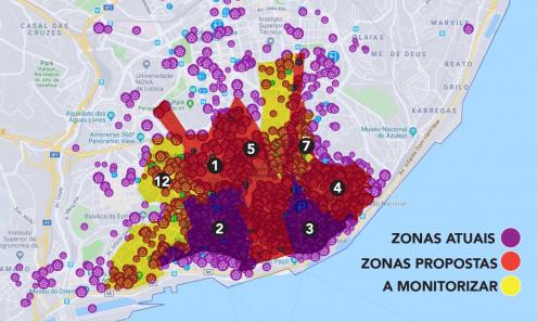 Mapas de zonas a interditar a novo alojamento local na proposta do Bloco.
