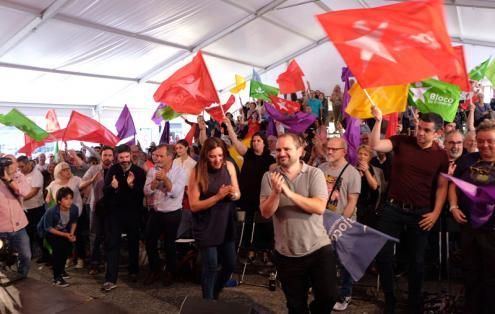 Comício do Bloco na Praça dos Poveiros no Porto.