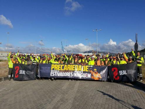 Estivadores em luta no Porto de Setúbal
