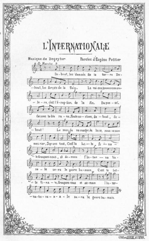 Primeira publicação da letra e música da Internacional. Imagem: wikimedia commons.
