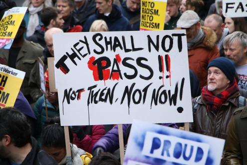 Manifestação anti-fascista em Londres. Dezembro de 2018.
