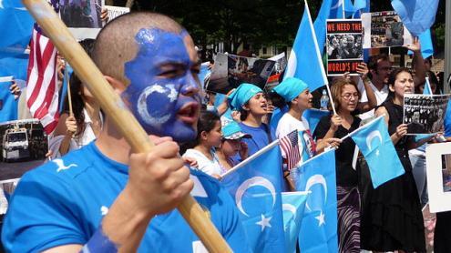 Manifestantes pelos direitos do povo uigur. Washington. Julho de 2009.