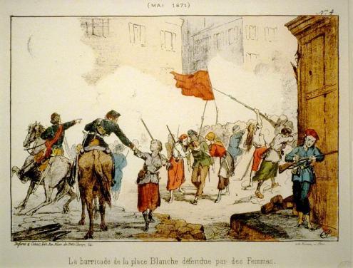 Mulheres na barricada da Place Blanche na Semana Sangrenta. Litografia do Museu de Carnavalet/Imagem Wikimedia Commons.