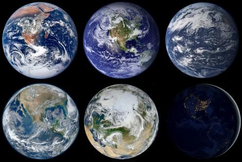 Várias faces do planeta Terra visto do Espaço