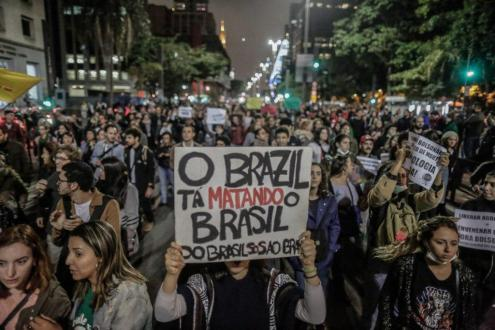 Manifestação em defesa da Amazónia. Foto Mídia Ninja