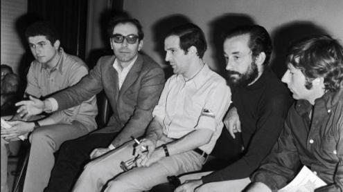 Conferência de imprensa com os realizadores Claude Lelouch, Jean-Luc Godard, François Truffaut, Louis Malle, Roman Polanski - festival de Cannes, 1968