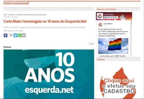 """""""Carta Maior homenageia os 10 anos do Esquerda.Net"""""""