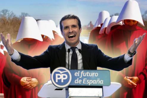 Fotomontagem com o líder do PP espanhol com as servas de Gilead em fundo.