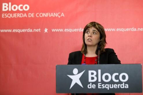 Catarina Martins apresentou as conclusões da reunião da Mesa Nacional do Bloco de Esquerda, 26 de março de 2017 – Foto de Miguel A. Lopes/Lusa