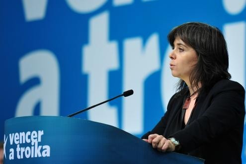 """""""We do not have to choose between neoliberals and the far right. We can choose to regain democracy and workers' rights"""", said Catarina Martins. Photo by Paulete Matos."""