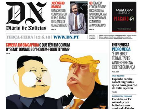 Diário de Notícias, terá edição diária online e em papel só ao domingo – imagem da capa de 12 de junho de 2018
