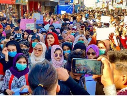 Manifestação de mulheres no Iraque. Fevereiro de 2020.