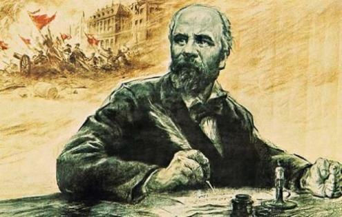 Ilustração de foto de Eugene Pottier, membro da Comuna e autor de várias músicas sobre ela.