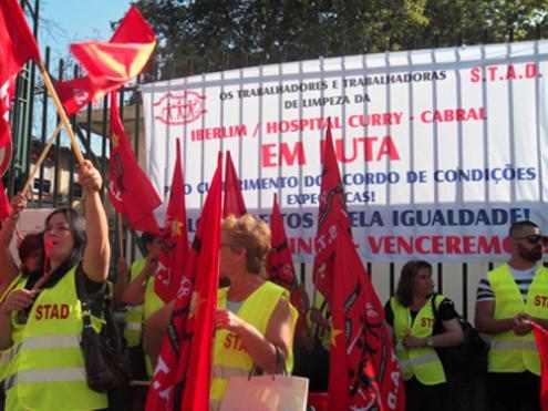 Nesta sexta-feira, trabalhadoras e trabalhadores de limpeza do hospital Curry Cabral fazem greve de 24 horas. Dia 9, segunda-feira, a greve será no hospital de Santa Maria – Foto de STAD