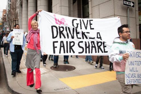 Condutores em protesto.