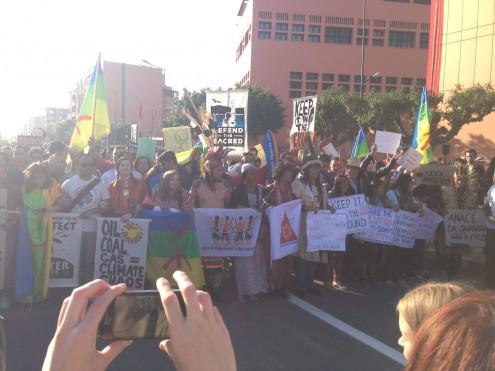 Manifestação em Marraquexe, durante a COP-22