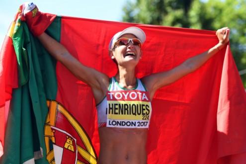 Inês Henriques, campeã mundial dos 50 km marcha, Londres, 13 de agosto de 2017 – Foto de Facundo Arrizabalaga/Epa/Lusa