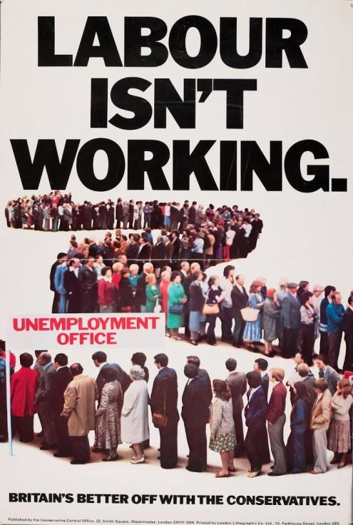 """""""O Labour não resulta"""", cartaz de campanha de Margaret Thatcher em 1979."""