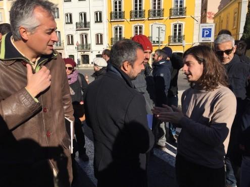 Luís Monteiro na manifestação da ABIC, 18 de janeiro de 2017
