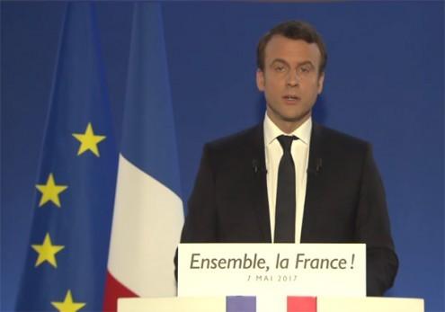 Declaração de Macron na noite das presidenciais