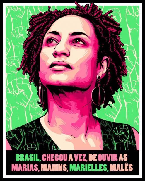 Marielle Franco nas cores da Mangueira: verde e rosa