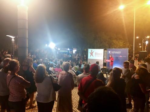 Eurodeputada Marisa Matias no comício de verão do Bloco de Esquerda, em Portimão. Foto Esquerda.net.