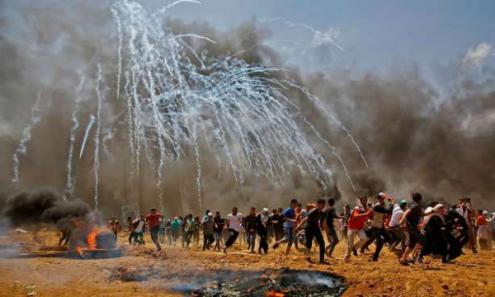 Num só dia, o funesto 14 de maio, sessenta manifestantes foram assassinados pelos soldados israelitas (que não têm nem um só ferido)