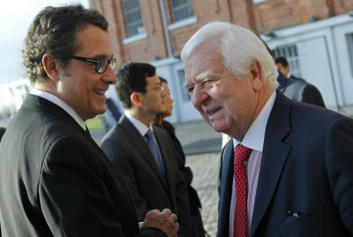António Mexia (chairman da EDP desde 2006) com Eduardo Catroga (Presidente do Conselho Geral de Supervisão da EDP desde 2012). Foto por Miguel A. Lopes, Lusa.