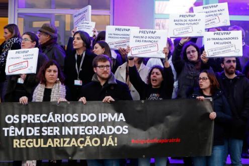 Protesto dos precários do IPMA, 24 de janeiro de 2019 – Foto de António Pedro Santos/Lusa
