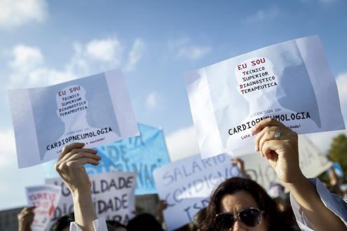 Protesto dos Técnicos de Diagnóstico em greve nacional. Foto de Rodrigo Antunes, Lusa.