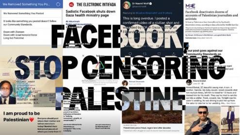 Imagem contra a censura do Facebook à luta palestiniana. Foto de Jewish Voice for Peace.