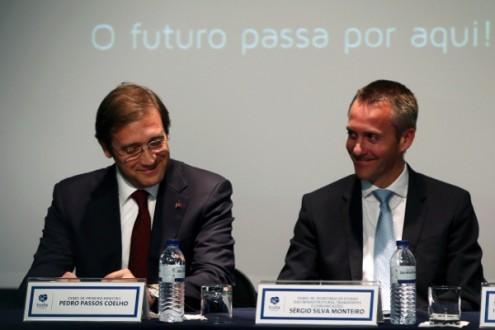 Sérgio Monteiro com Pedro Passos Coelho, foto de Estrela Silva, Lusa