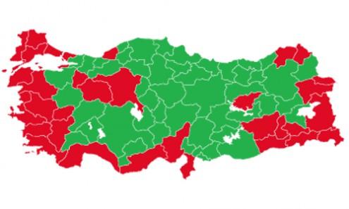 """""""Não"""" venceu nas zonas a vermelho; """"Sim"""" venceu nas zonas a verde"""