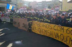 Manifestação de bombeiros. Foto CGTP.