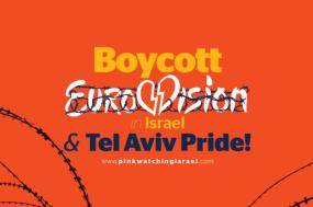 Foto da campanha da Boycott Eurovision. pinkwatchingisrael.com