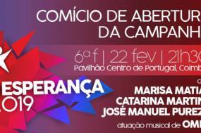 Cartaz de comício de abertura da campanha.