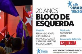 Cartaz do comício de 20º aniversário do Bloco de Esquerda.