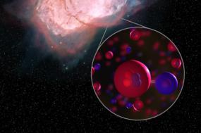 Ilustração da nebulosa NGC 7027, com moléculas de hidro-hélio ampliadas. Imagem NASA/SOFIA/Proudfit/Rutter.
