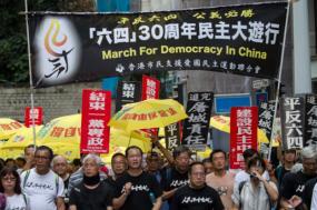 Manifestação em Hong Kong pelo 30º aniversário de Tiananmen, 26 de maio de 2019. Foto de Jerome Favre/EPA/Lusa.