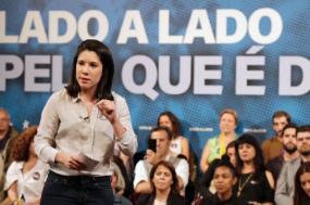Joana Mortágua em comício em Almada, Europeias 2019. Foto de Paula Nunes.