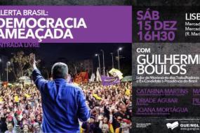 Guilherme Boulos estará em sessões em Lisboa e no Porto, no próximo sábado