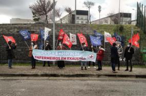 Concentração de enfermeiros junto ao Hospital Beatriz Ângelo a 25 de fevereiro de 2021 – Foto de Mário Cruz/Lusa