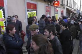 Concentração promovida pelo Bloco de Esquerda, no dia em que a estação da Rua da Palma, em Lisboa, encerrou - Foto esquerda.net