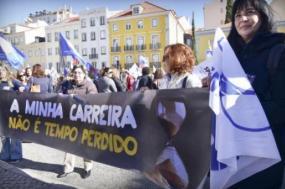 Docentes fazem greve às avaliações e reivindicam a contagem de todo o tempo de serviço - Foto de Paulete Matos