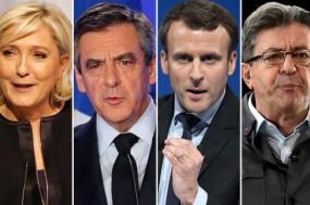 Dia 23 terá lugar a 1ª volta das eleições presidenciais francesas. Na foto os principais candidatos: Marine Le Pen, François Fillon, Emmanuel Macron e Jean-Luc Mélenchon