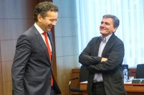 Dijsselbloem e Tsakalotos no Eurogrupo desta semana.