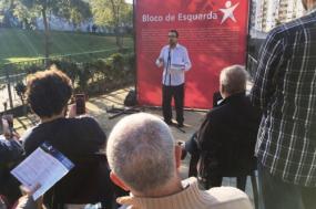 Carlos Carujo, candidato do Bloco de Esquerda à Câmara de Sintra, na apresentação dos compromissos para o concelho