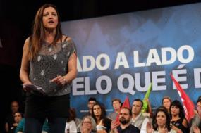 Marisa Matias em comício em Almada, Europeias 2019. Foto de Paula Nunes
